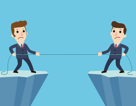 Businessmen in suit pulling the rope at edge of cliff, competition concept illustration. 일러스트