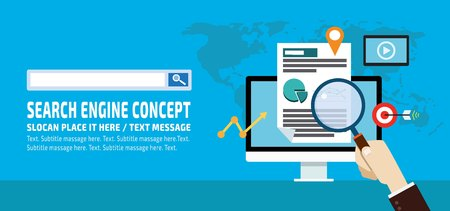 Search engine advertising, marketing, PPC.business infographic elements icon conceptflat vector advert banner design presentation website template blue background illustration,