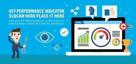 Key performance indicator. Businessman KPI. Marketing social media business info-graphic elements icon concept. Flat vector advert banner design. Presentation website template background illustration.