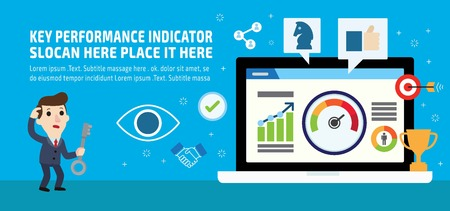 Key performance indicator. Businessman KPI. Marketing social media business info-graphic elements icon concept. Flat vector advert banner design. Presentation website template background illustration.