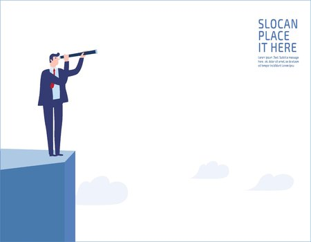 Businessman standing on a cliff. looking through monocular into the futurebusiness vision and visionary people business concept vector.
