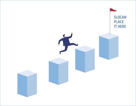 Ambition businessman jump on graph columns.Success, achievement.