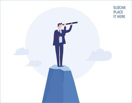 Biznesmen patrząc przez teleskop na szczycie góry. Cele, sukces, osiągnięcia i wyzwania ludzie koncepcja biznesowa wektor płaska konstrukcja ilustracja transparent broszura na białym tle
