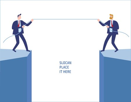 Businessmen in suit pull rope at edge of cliff.Competition conflict rivalry people business concept vector flat design illustration banner brochureisolated background