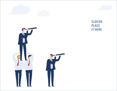Teamwork target business people concept vector flat design illustration.businessman standing on Co-worker looking through telescope into the future Illustration