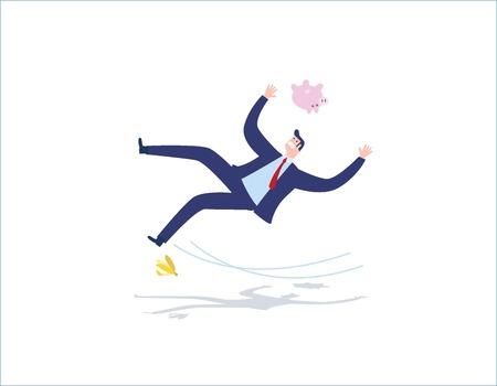 risco e falta de pessoas de negócios conceito vector design plano ilustração de fundo. Empresário, deslizando em uma casca de banana. Ilustración de vector