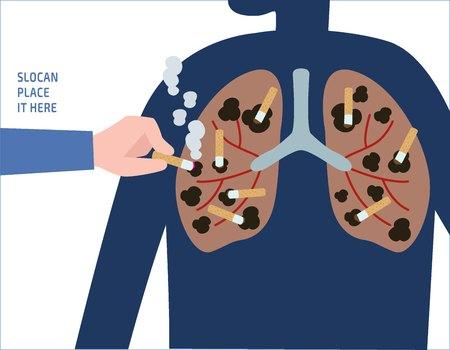 Schade van rokeninternal gezondheid concept vector mensen platte ontwerp illustratie geïsoleerde achtergrond.