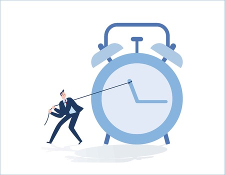 Businessman pulling clock in time management