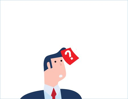 Confused businessman thinking with question mark Illustration