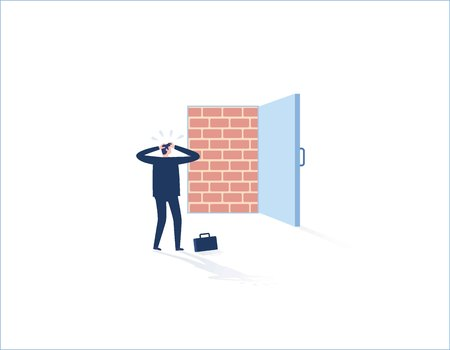 Brick wall blocking the office doorway, businessman standing dismal.adversity, obstacle trapped, no way out. Business concept. Business people vector flat design illustration background.