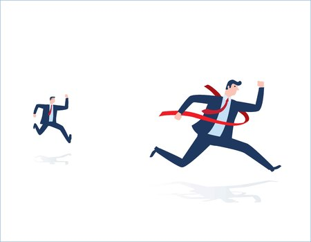 Businessman on the finishing line in competition.business concept vector people flat design illustration isolated background.