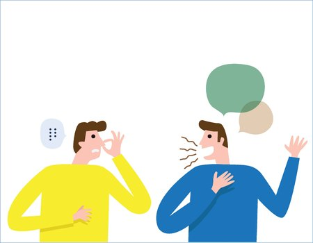 Halitosis, Bad breath. People talk. man covers nose with hand showing that something stinks. health care concept. vector people flat design illustration isolated background.