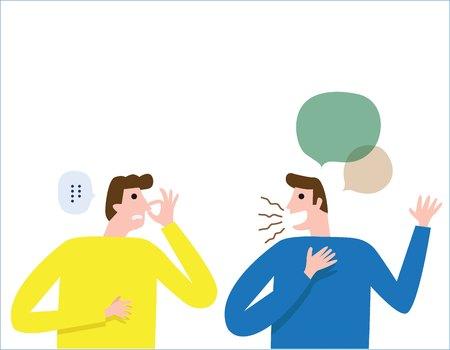Halitose, mau hálito. As pessoas falam. homem cobre o nariz com a mão, mostrando que algo cheira mal. conceito de cuidados de saúde. pessoas vector design plano ilustração isolado fundo.