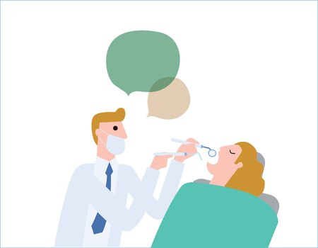 Male dentist, medical treatment to a female patient at the clinic. Health care concept vector people flat design illustration isolated background.