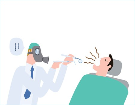 Male dentist Medical treatment to a male patient