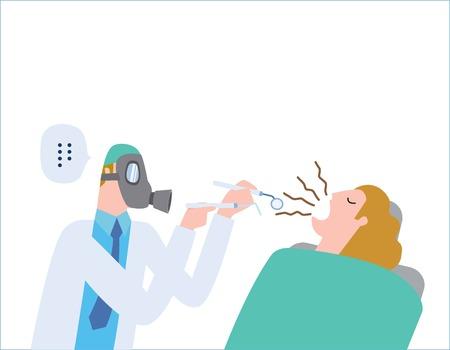 Tratamento médico do dentista masculino a um paciente fêmea na clínica vestindo uma máscara de gás. halitose, mau hálito. cuidados de saúde conceito vetor pessoas design plano ilustração isolado fundo.