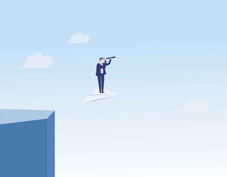 Business leader leaving comfort zone on a paper plane.Business searching vector concept of adventure,opportunity, entrepreneurship.vector flat design illustration.