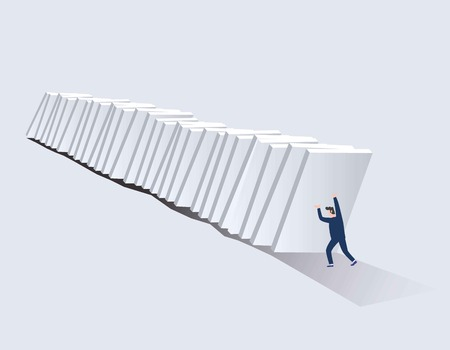 Businessman stopping falling domino vector concept. Symbol of crisis, risk, management, leadership, and determination. Vector flat cartoon character design illustration. Vettoriali