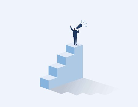Businessman with a megaphone on steps. inequality in business vector concept. Vector flat cartoon character design illustration.