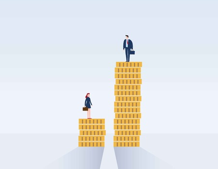 Gender gap and inequality in salary,pay vector concept. Businessman and businesswoman on piles of coins.discrimination, difference, injustice.Vector illustration flat cartoon character design Vettoriali