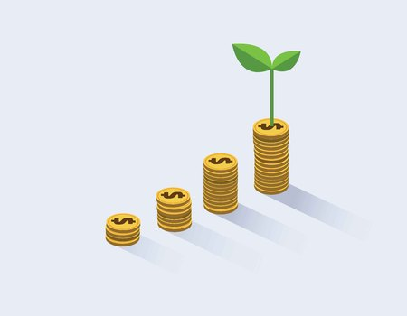 Gold coins growth and plant them. Investment business concept. Goals, success, achievement. Vector illustration, flat cartoon design.