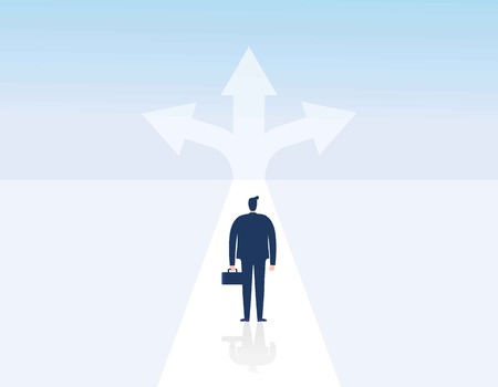 Choice way concept. Crossroads arrows. Decide direction.Decision business metaphor. Businessman before choosing. invester standing choice of ways.Vector illustration Eps10 flat cartoon character design