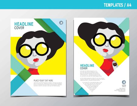 flyer leaflet brochure template A4 size design. Abstract flat vector modern multipurpose style.