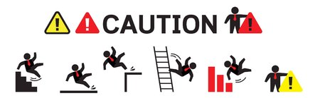 Cautionsymbols withstick figure man falling.Wet floor, tripping on stairs, fall down from ladder and over the egde.Workplace safety and injury vector illustration.