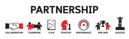 パートナーシップアイコンのコンセプト。戦略的ビジネスチームワークインフォグラフィックベクトルバナーイラスト 写真素材 - 97435928