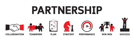 Concepto de iconos de asociación. Negocio estratégico trabajo en equipo infografía vector banner ilustración