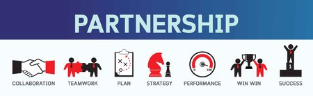 Partnership icons business concept. Teamwork vector banner illustration Stock Illustratie