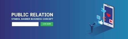 Banner pr public relation.Business concept web page header marketing Businessman communicates through a megaphone.Vector illustration cartoon background3d isometric flat design Eps10
