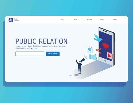 Pr public relation bannerLanding page concept. Web page 3d isometric.business vector illustration concept.Businessman communicates through a megaphone.header marketing flat design Eps10.