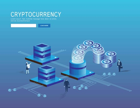 Bitcoin, cryptocurrency and blockchain technology, bannerLanding page concept. Web page 3d isometric.business vector illustration concept.header website flat design Eps10