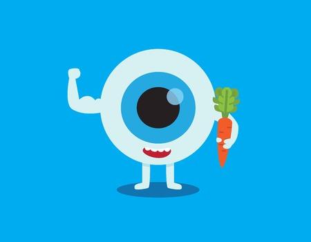 Medical healthcare concept. eyeball with a carrot. Vectores