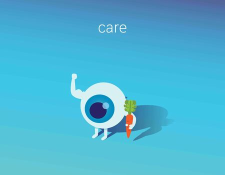 Strong healthy white eye, 3d isometric illustration icon.Food for Eyes care. Medical healthcare concept.eyeball with a carrot. Healthy nutritionVector flat icon cartoon character design.background