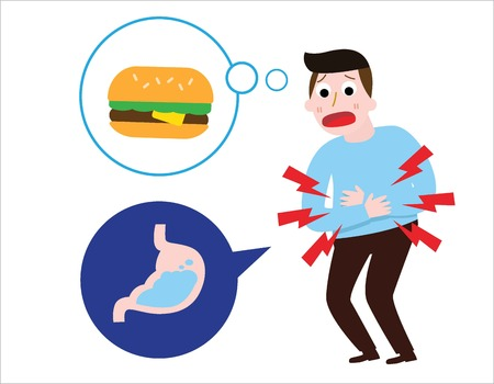 Man suffering sad man is hungry.thinks about burger. stomach ache concept.Vector flat cartoon illustration icon design.Isolated on white background.
