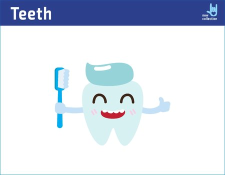 Cute happy smiling tooth with toothbrush and toothpaste. Vector cartoon character illustration. Clear tooth concept. Brushing teeth.Dental kids care