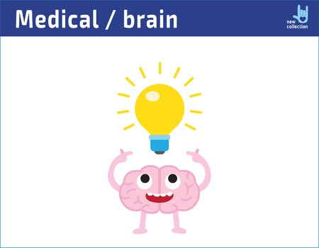 Cute cartoon happy face brain with having an idea. lightbulb, creative idea drawing. inspiration, icon character vector illustration. medical healthy concept. Ilustração