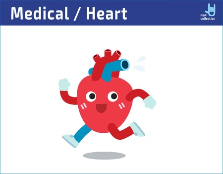 Healthy heart exercising. jogging and sweating. runningCartoon cute character icon vector illustration.healthcare medical concept.