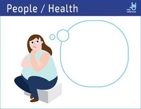 Obese woman thinking illustration. vector cartoon design medical health obesity disease concept. icon flat isolated on white background. Ilustração