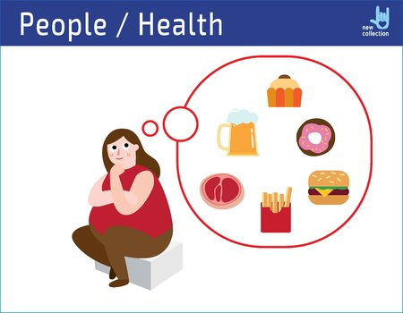 Happy obese woman think to junk food. bad habits dreaming.obesity unhealthy concept.sweets, drinks, fast food,infographic illustration vector icon.
