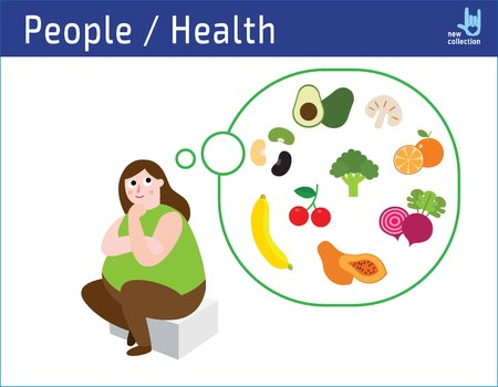 Happy obese woman think to diet food,looking dreaming fruit vegetable.obesity medical health care concept.infographic illustration vector cartoon flat icons design.isolated on white background. Ilustração