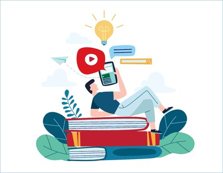 Online education vector color illustration, Internet studying training concept,distance e- learning, courses, tutorials,online books and textbooks,exam preparation, design for mobile and web Vectores