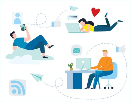 young people communicate through internet social networks. community online illustration vector. communication concept   friends correspondence. instant messengers, like, love,