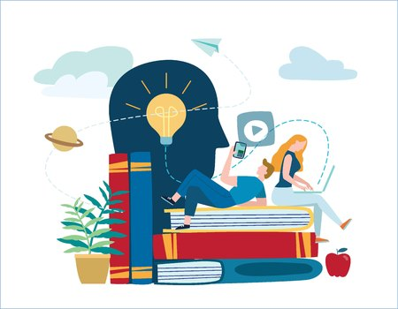 small people learn and gain knowledge. vector illustration.