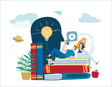 mali ludzie uczą się i zdobywają wiedzę. ilustracji wektorowych.