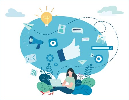 programmatic digital advertising vector illustration. Vectores