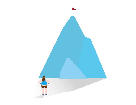 Obese woman standing in front of the mountain with flag
