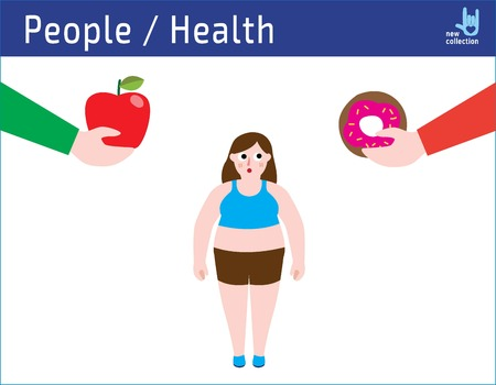 Healthy food and unhealthy eating design Vectores